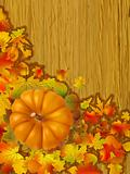 Fall leaves with orange gourd