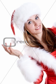 beautiful woman wearing santa claus clothes