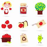 Nature and autumn: apple icons set ( green & red )