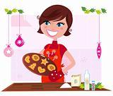 Cooking mother preparing christmas cookies in kitchen