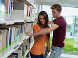 couple breaking up in library