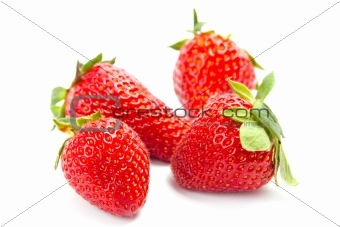 four fresh strawberries