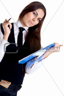 business woman in a suit with clipboard
