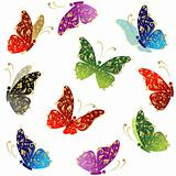 Beautiful art butterfly flying, floral golden ornament