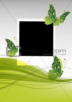 Green background with beautiful butterflies, insert your photo