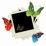 Pile of photos, insert your pictures into frames, butterfly decoration