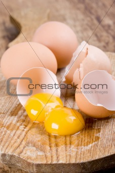 broken brown eggs