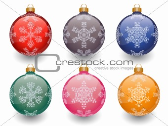 Christmas baubles isolated on white. Vector illustration.