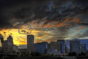 Dramatic Sunset Sky Over Portland Skyline