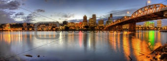 Portland Downtown Skyline Night Panorama 2