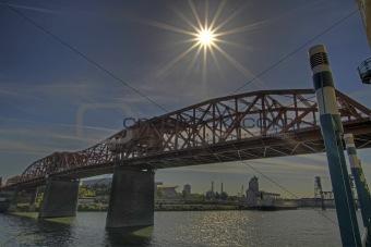 Broadway Bridge with Sun Flare