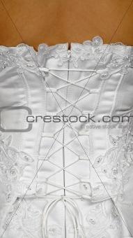 Corset of white wedding dress - rear view