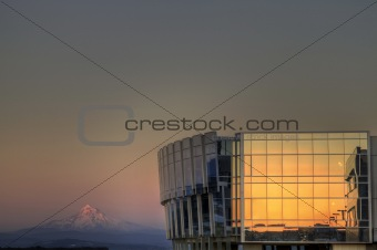 Sunset on Airport Building and Mount Hood