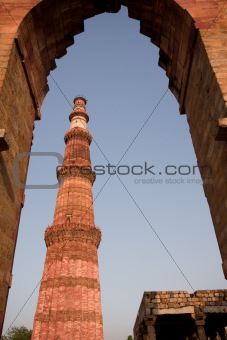 Qutab Minar  through arch, Delhi, India