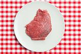 raw beef steak on plate