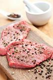 raw beef steak with pepper