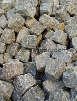 large heap of stacked cobbles
