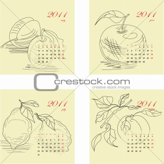 Calendar for 2011 with fruit