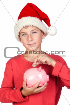 Adorable child saving with Santa Hat
