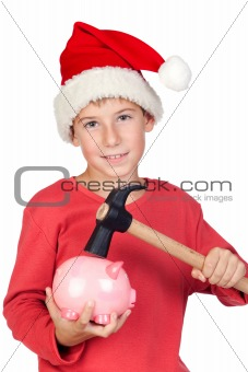 Adorable child with Santa Hat
