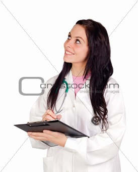 Attractive doctor woman doing report