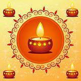 diwali card decorated with diya