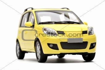 Generic modern yellow family car model