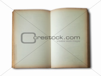 old book open on white background