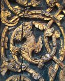Dragon carved on wooden door
