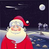 Santa Claus with landscape.
