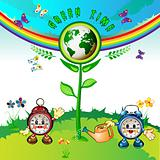Eco Earth , cartoon clocks