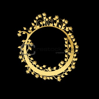 Circle frame with flowers and leaves