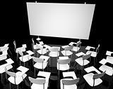Empty black classroom