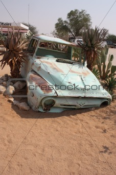 Old car in Namibian desert
