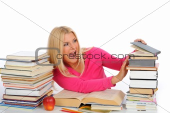 portrait of young  student girl with lots of books in panic. iso