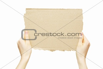 cardboard  in hands