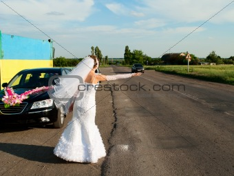 Bride hitch-hiking at the road