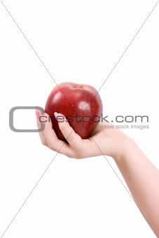 Apple on a palm