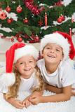 Christmas portrait of happy kids