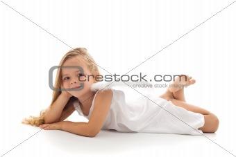 Little angel in white dress