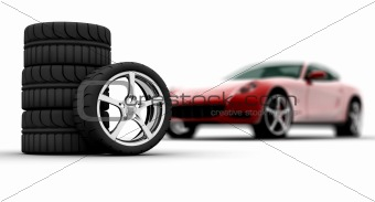 Wheels with a red car on background