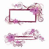 Pink floral frame and banner design