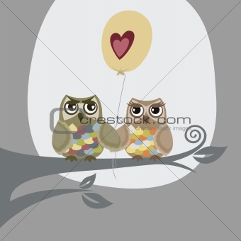 Two owls and love balloon illustration