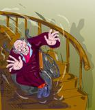 old man falling down the stairs