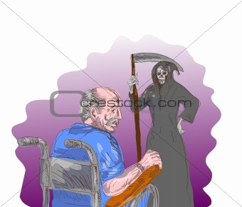 elderly man facing death