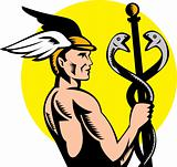 Hermes or mercury holding a caduceus