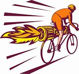 Cyclist racing with jet engine on bicycle