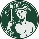 Greek God Hermes holding a caduceus