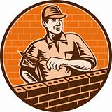Mason worker or brick layer icon