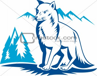 Fox with mountains in the background